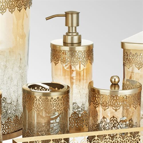 Ingrid Brushed Gold Metal And Glass Bath Accessories By J Queen New York Elegant Bathroom Shower Panels Boho Bathroom