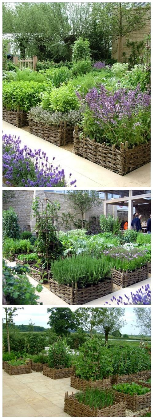 Raised beds with beautiful basket-weave borders