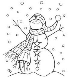 Hampton Art - Wood Mounted Stamp by Outlines - Snowman Sparkle