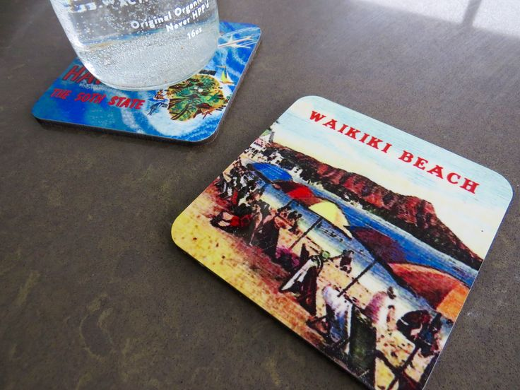 Coasters brought back from Hawaii.