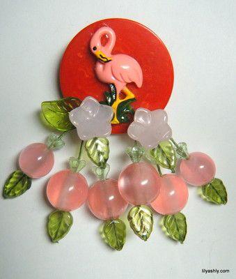 Flamingo Bakelite Brooch