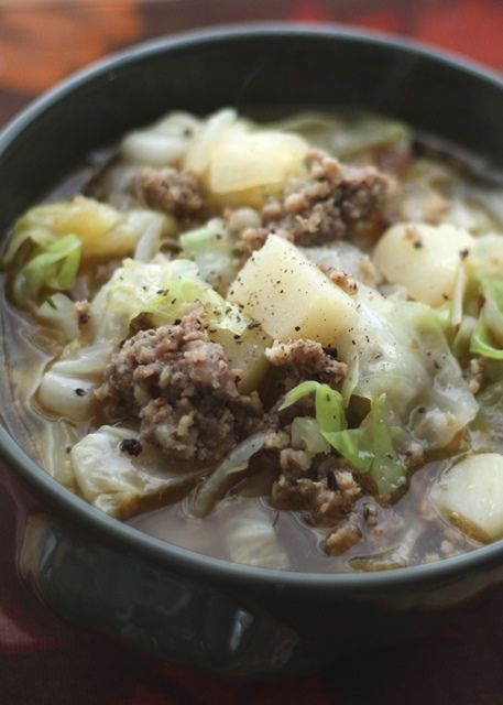 Cabbage, Potato and Sausage Soup - potatoes and cabbage are simmered in an herbed broth just until tender to make this very easy and quick soup. 25 minutes from start to finish!