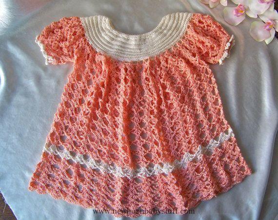 Crochet Baby Dress Vintage Crochet Baby Dress 1950s Coral Baby Dress
