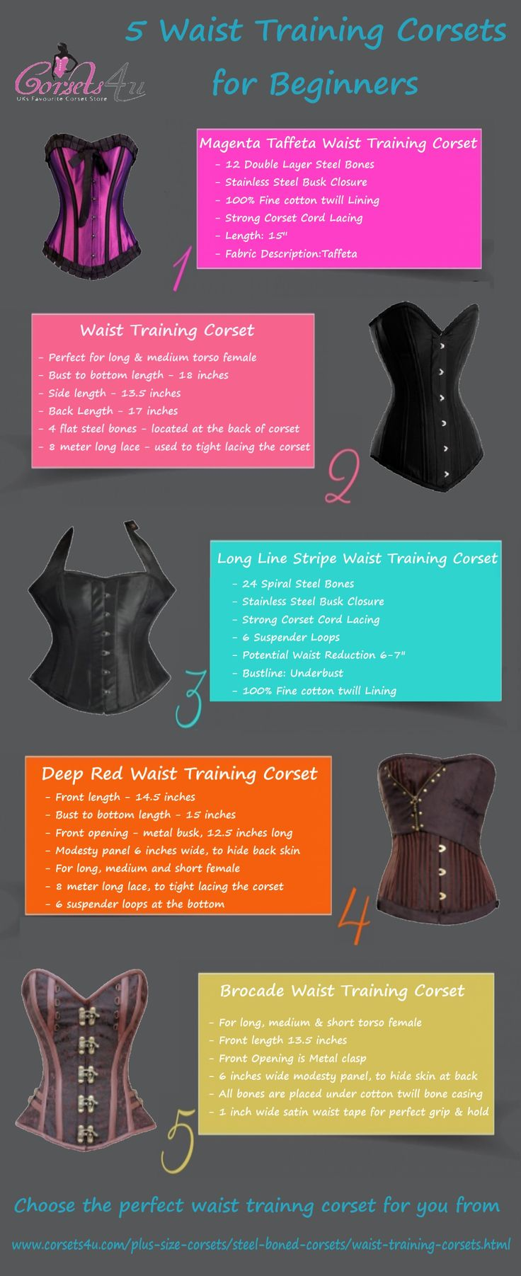 If you are searching for waist training corset to put your body in shape, see what corset you can pick for yourself.