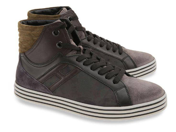 Hogan Rebel men's high top sneakers in brown suede - Italian Boutique €189