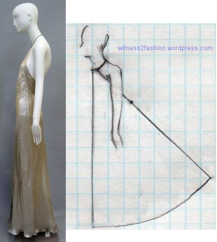 A quadrant wrapped around the body. Vionnet added a side front seam.