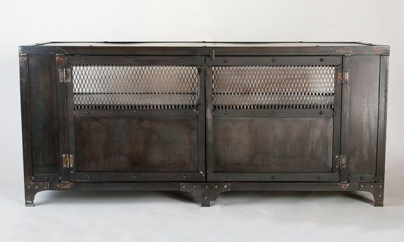 Custom Handmade Industrial Metal Media Cabinet, Tv Stand, Console Table,  Entertainment Center, Office Furniture | Media Cabinet, Industrial Metal  And Tv ...