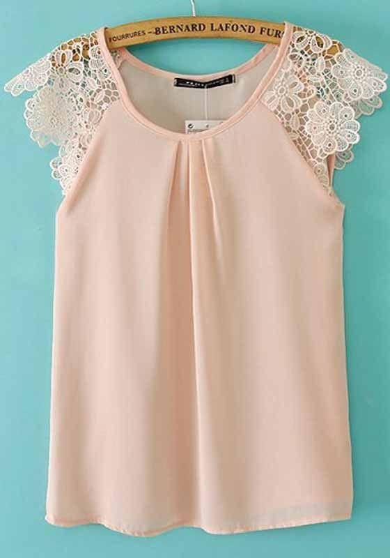 Pink Plain Lace Sleeveless Chiffon Blouse