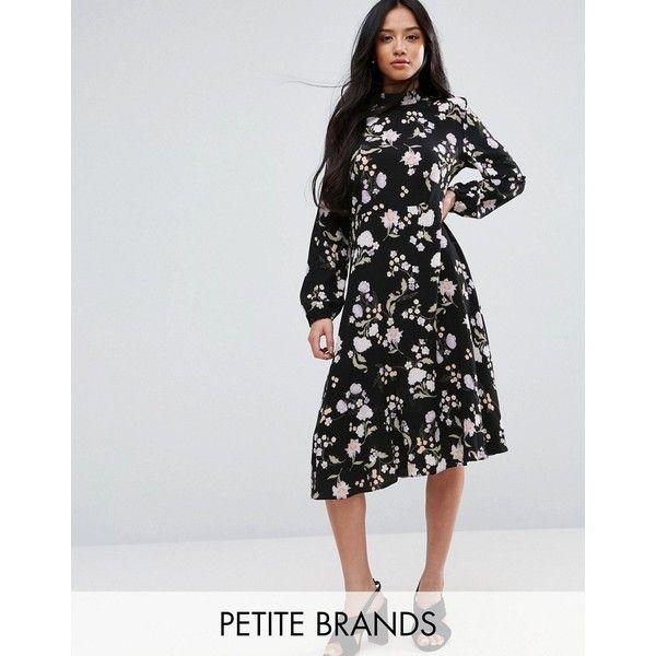 New Look Petite Floral Long Sleeve Midi Dress ($45) ❤ liked on Polyvore featuring dresses, black, petite, petite midi dress, high neck long sleeve dress, floral midi dress, tall dresses and high neck midi dress