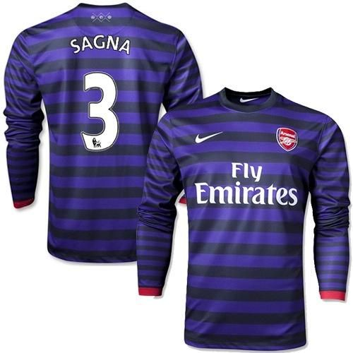 Arsenal #3 Bacary Sagna Long Sleeves Away Soccer Club Jersey @Emillia Kelly