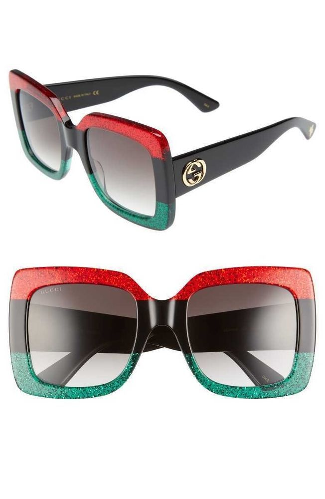8bc5f919f10be New Gucci Glitter Red Black Green GG 0083S Oversize Square Sunglasses 100%  UV  fashion  clothing  shoes  accessories  womensaccessories ...