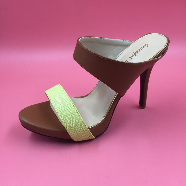 Brown Soft Leather Women Slipper Sandals High Heels Stilettos Open Heels Ladies Summer Shoes Open Toe Women Sandals 2016