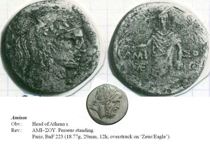 Greek overstrike. Pontus. Amisos. Head of Athéna/Perseus on Head of Zeus/Eagle on thunderbolt. Time of Mithradates Eupator.