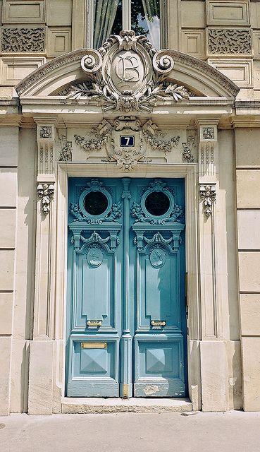ornate blue doors in Paris.