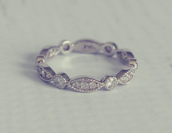 1930's Style Diamond Pave Wedding Band Ring, beautiful if paired with the right engagement ring