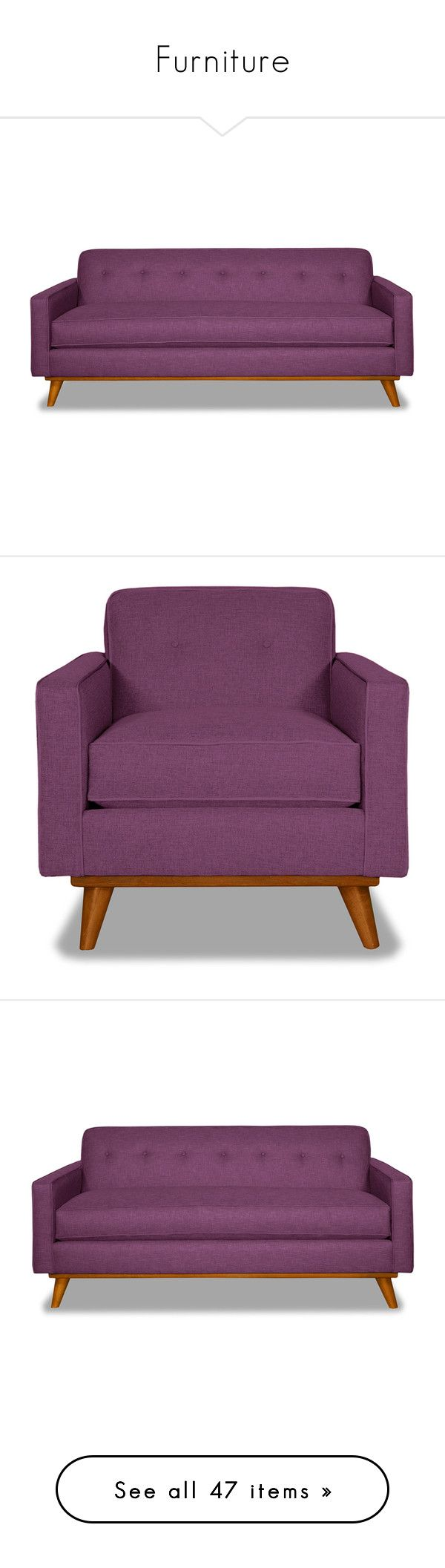 """Furniture"" by scarletj17 ❤ liked on Polyvore featuring home, furniture, sofas, midcentury modern sofa, purple furniture, purple couch, mid-century modern furniture, midcentury furniture, chairs and accent chairs"