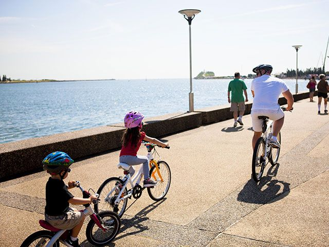 Cycling along the Newcastle foreshore