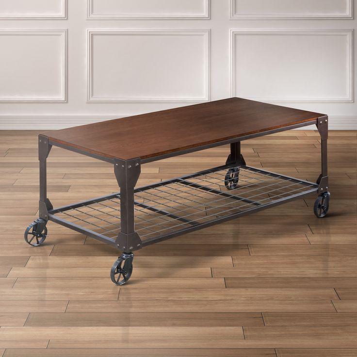 Furniture of America Karina Industrial Style Coffee Table (Oak & Metal),  Brown