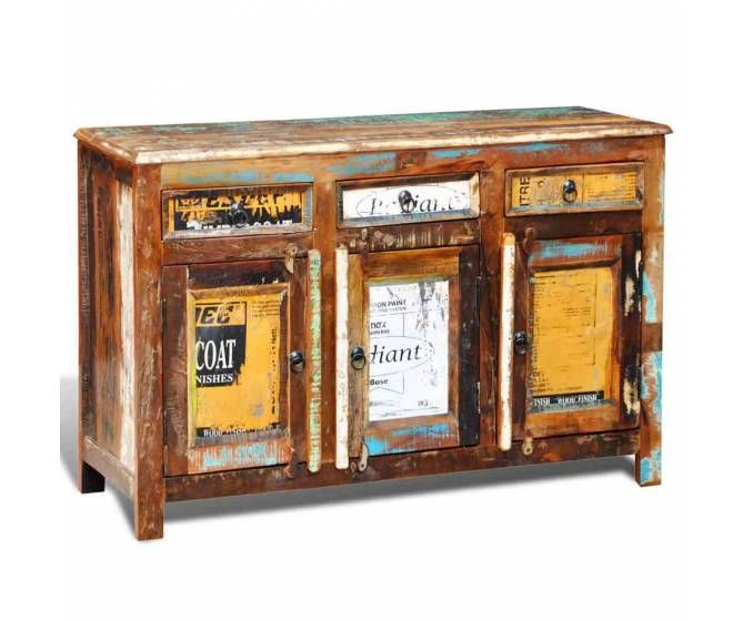 Tres Beau Buffet De Style Vintage En Bois De Recuperation Une Piece De Choix Dans Votre Espace Salon Armoires En Bois De Grange Meuble Deco Meubles Recycles