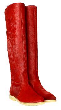 Kniehohe Damenstiefel in Rot mit Kreppsohle