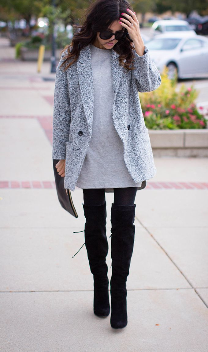 Consider pairing a grey coat with a grey shift dress to get a laid-back yet stylish look. A cool pair of black suede thigh high boots is an easy way to upgrade your look.  Shop this look for $94:  http://lookastic.com/women/looks/sunglasses-coat-shift-dress-clutch-over-the-knee-boots/4642  — Black Sunglasses  — Grey Coat  — Grey Shift Dress  — Black Leather Clutch  — Black Suede Over The Knee Boots