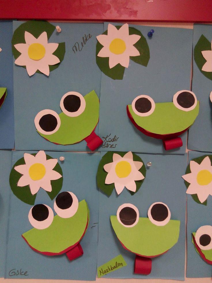 Çocukların çok seveceği küçük kurbağalar - Okul öncesi çocuklar için harika bir sanat etkinliği.