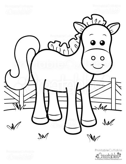 cute farm horse free printable coloring page