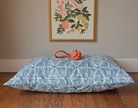 New Dog Bed Cover Painted Diamonds Blue Pet Bed by thefoggydog