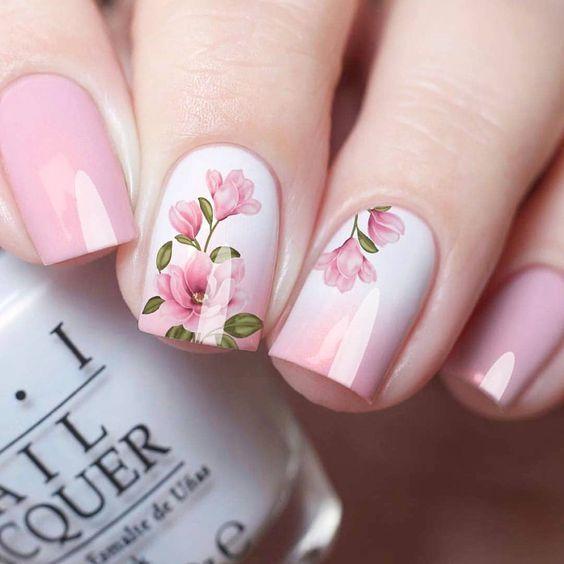 Nail art, nail designs, pink, flower