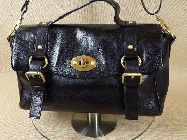 Edina Ronay Black Leather Handbag Shoulder Bag Postman Lock Heavy Metal Parts