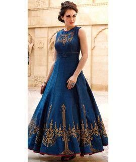 Dazzle Blue Silk Designer Gown.
