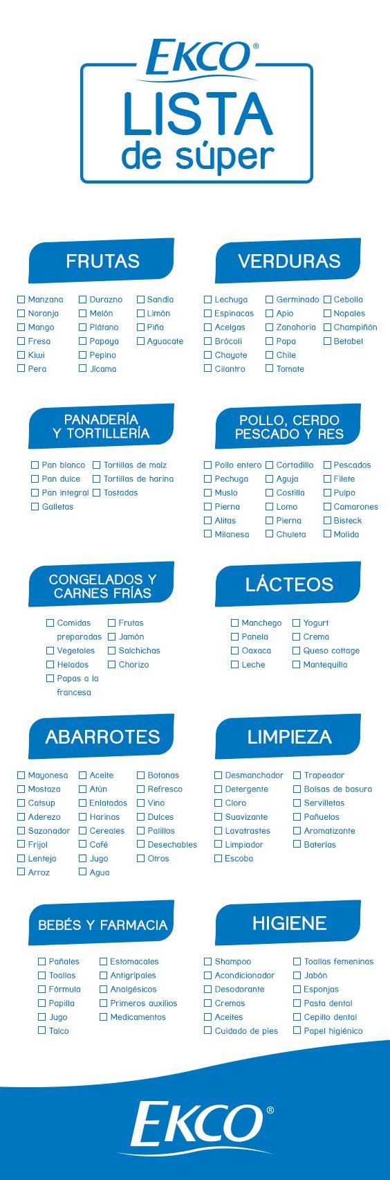 Antes de ir al súper, imprime este listado y selecciona cuáles son los productos que necesitas.