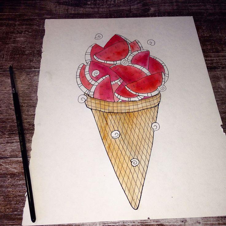 #очередной #день с арбузным настроением   #цветныекартинки #акварель #badartist_larakaluga #illustration #watercolor #арбуз #мороженое #icecream #larakaluga