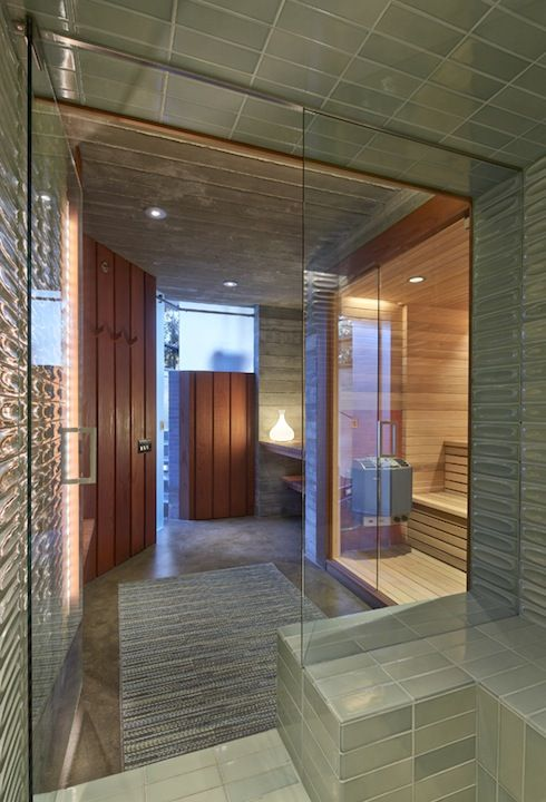 Contemporary sauna Blatt + Fung Architects Lighting Design by Arsene Deesign Photo by Fotoworks