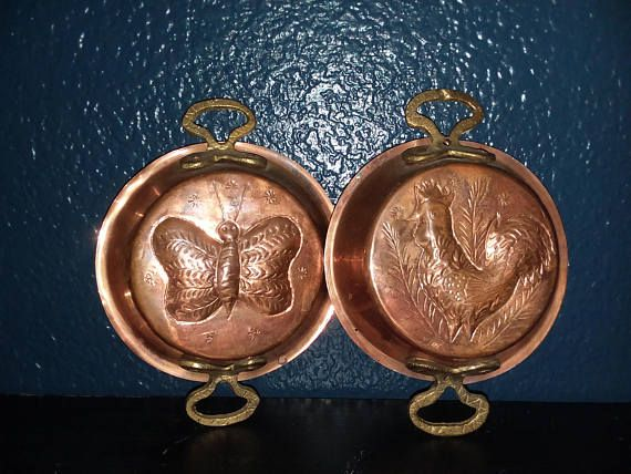 VTG Mini Copper Wall Hanging Pans Rooster and Butterly Rustic