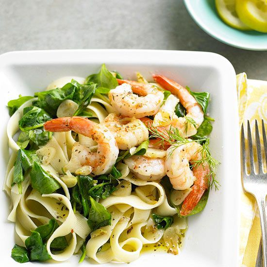 Enjoy a dine-out experience at home with our favorite Italian pasta dish, complete with succulent shrimp and spinach tossed in a zesty lemon-garlic sauce: http://www.bhg.com/recipes/healthy/dinner/cheap-heart-healthy-dinner-ideas/?socsrc=bhgpin032414lemondillshrimpandpasta&page=21