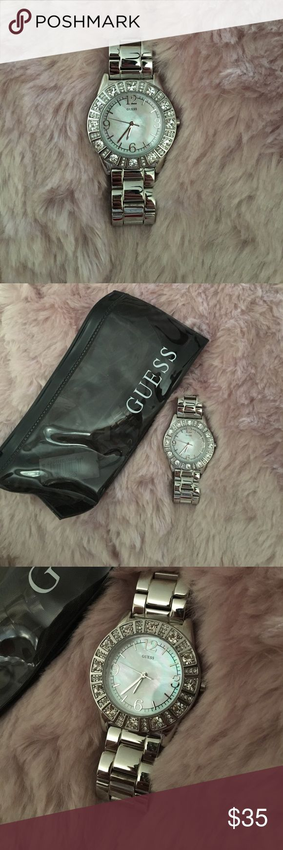 Mother of pearl guess watch Mother of pearl GUESS watch, comes with original bag and extra links to resize. Worn once. Guess Jewelry