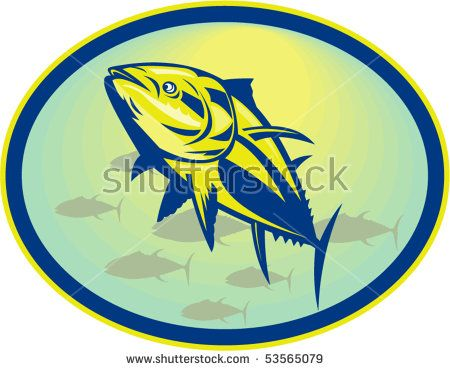 vector illustration of a Bluefin tuna viewed from a low angle set inside an oval.  #tuna #retro #illustration