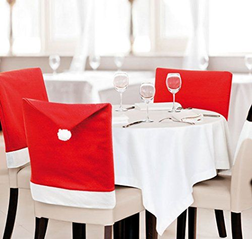 Meleg Otthon Christmas Santa Claus Hat Red Hat Chair Back CoversDining Slip Covers for ChairsStool Cover Set for Christmas Dinner Decors Set of 4 *** Check this awesome product by going to the link at the image.