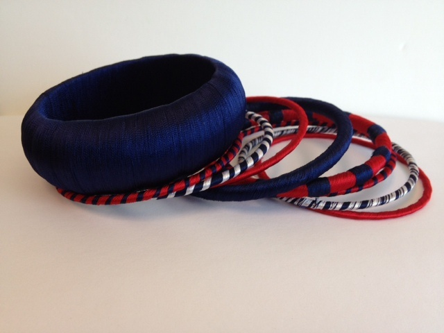 Red white & blue thread bangle set