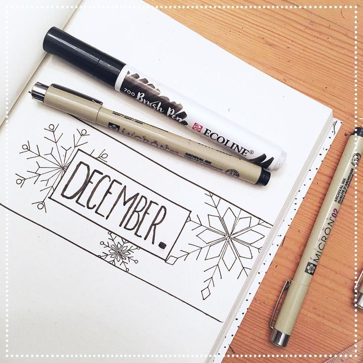 Bullet journal monthly cover page, December cover page, winter drawings. @_moartx