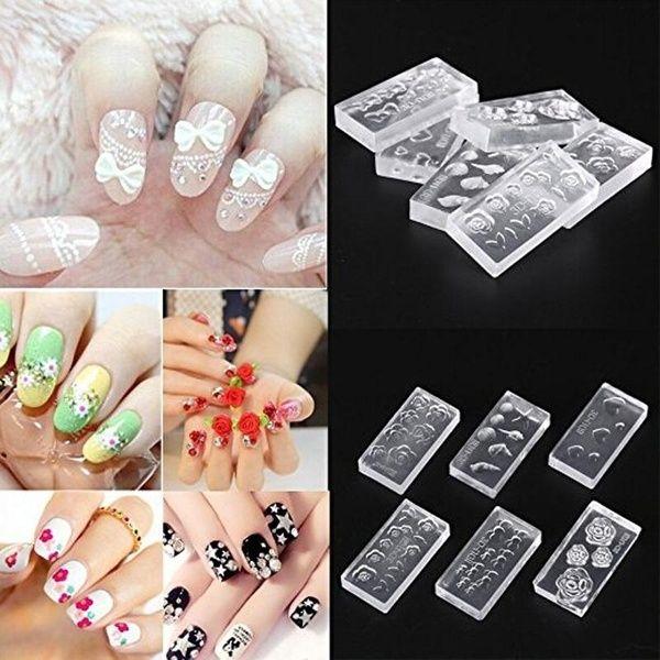 6 Style 3d Diy Crystal Carving Nail Art Mould Transparent Nail