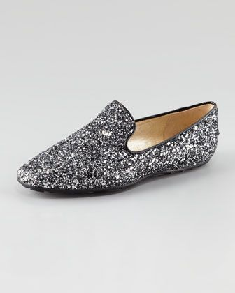 Wheel Glittered Smoking Slipper by Jimmy Choo at Neiman Marcus.