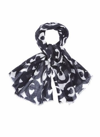 MARIMEKKO KISSAPOLLO SCARF BLACK, WHITE  #wool #abstract #organic #design #marimekko #evileye #flowers #shadows #pirkkoseattle #pirkkofinland