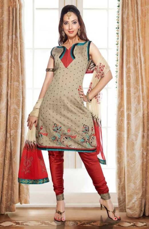 Salwar Kameez Neck Designs with Churidar Pajama