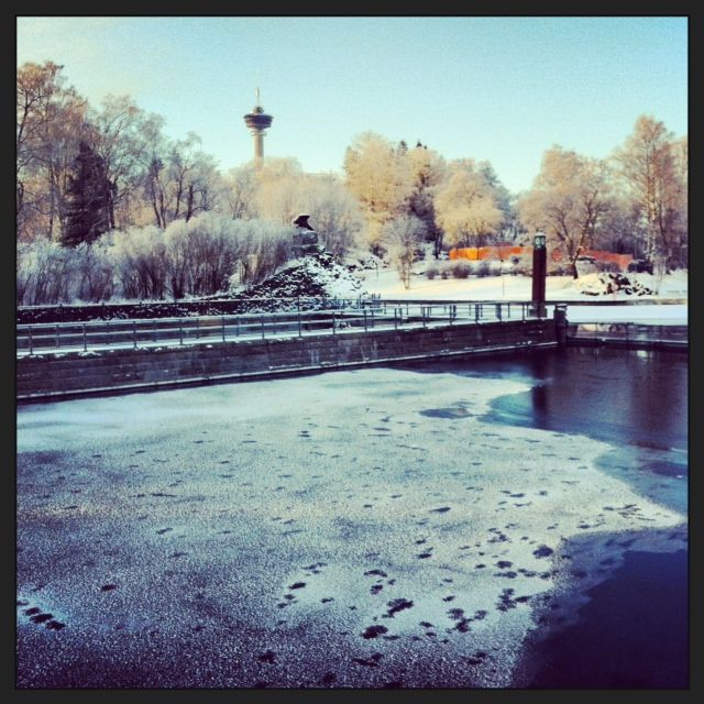Freezing Tammerkoski and Näsinneula in Tampere, Finland. #tampereblog #tampereallbright