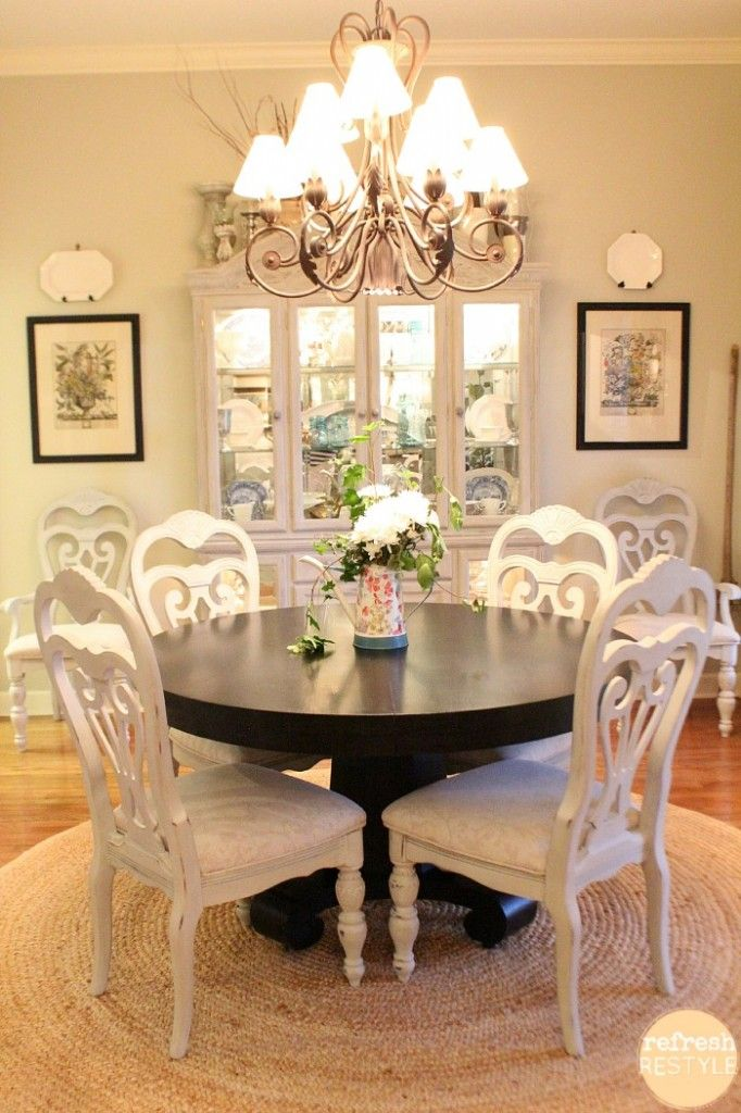Dining Chairs DIY-How to spray paint!  paint is Maison Blanche Vintage Furniture paint in Cobblestone