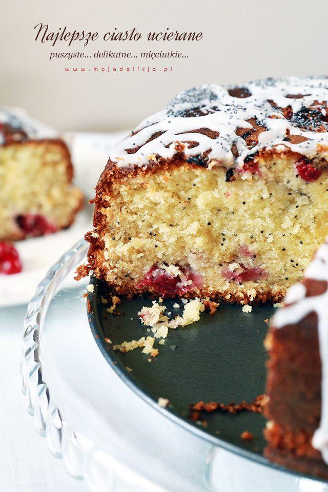 Najlepsze ciasto ucierane o smaku cytrynowym, z makiem i porzeczkami. Ciasto ucierane na maślance - wilgotne i puszyste  The best sponge cake with lemon flavor, with poppy seeds and currants. Buttermilk sponge cake - moist and fluffy