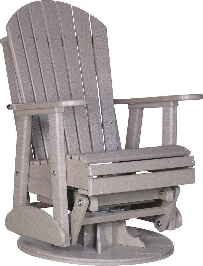 Outdoor Glider Chair - LuxCraft Recycled Plastic 2' Adirondack Swivel Glider Chair