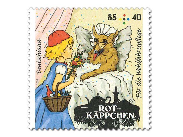 """Bild Briefmarke """"Rotkäppchen - Bei der Großmutter"""" aus der Serie Wohlfahrtspflege, 85+40 ct"""